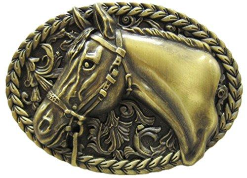 New Vintage Bronze Plated Horse Head Western Cowboy Oval Hebilla del cinturón Belt Buckle