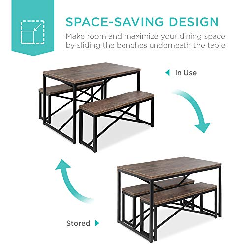 Best Choice Products 45.5in 3-Piece Bench Style Dining Table Furniture Set, 4-Person Space-Saving Dinette for Kitchen, Dining Room w/ 2 Benches, Table - Brown/Black