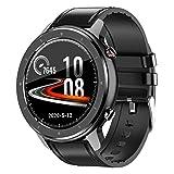 YQY Smart Watch, HD Screen Fitness Watch con 8 Entrenamientos Modo, Reloj Personalizado, Rastreadores de Fitness con Monitor de Ritmo cardíaco Monitor de sueño,Black Leather Strap