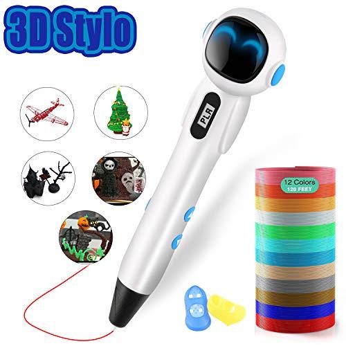 ShuBel Stylo 3D, 3D Stylo pour Enfant et Adulte Robot Créatif Professionnel 3D Pen écran LCD Colorés avec 2 Filament PLA/ABS comme Cadeau de Noël- Robot (Blanc)