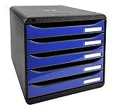 Exacompta 3097203D Premium Ablagebox mit 5 Schubladen für DIN A4+ Dokumente. Stapelbare Schubladenbox mit hoher Kapazität für mehr Platz auf dem Schreibtisch Big Box Iderama Schwarz|Königsblau