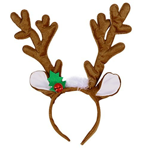 TOYMYTOY Rentier Geweih Stirnband Haarband Kopfschmuck Rentier Plüschtier für Weihnachten Kostüm Party
