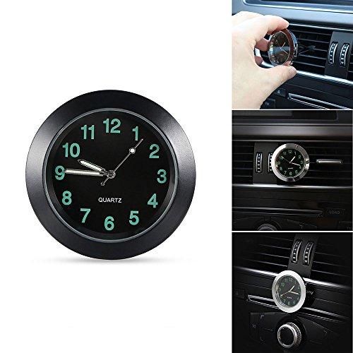 TiooDre - Reloj de cuarzo universal para el viento del coche con luz Noctilucent en el puntero oscuro, decoración interior del coche