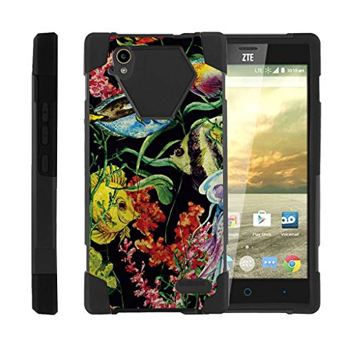 Compatible with ZTE Warp Elite Case | N9518 [Dynamic Shell] Hybrid Dual Layer Case Silicone Hard Shell Kickstand Cover Ocean Sea by TurtleArmor - Colorful Fishes