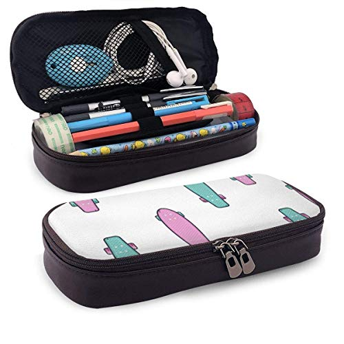 Longboard mit stilvollen Farben Rosa Türkis Pu Leder Federtasche, Schreibwaren Organizer Bleistiftbeutel Kosmetische Make-up Tasche Münztasche