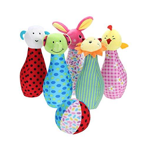 HERSITY 6 Soft Kegelspiel Kinder Bowling Spiel Set Baby Plüschtiere Ball Spielzeug Set Geschenk für Kleinkinder