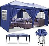 Pavillon 3x3m/3x6m Wasserdicht Zelt Partyzelt Faltpavillon Gartenzelt für Garten Markt Camping Hochzeiten Festival mit 4 Seitenteilen UV-Schutz 50+ (Blau, 3x6m)