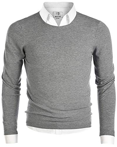 MOCOTONO Men's Long Sleeve Crew Neck Pullover Knit Sweater Gray Large
