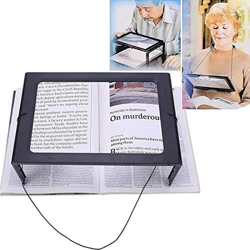 Leselupe, Lupe mit Licht 3X Vergröserung Lesehilfe mit 4 LED Licht für Senioren - A4 Rechteckige mit Klappbarer Ständer Hände Frei für Bücher, Landkarten, Schmuck