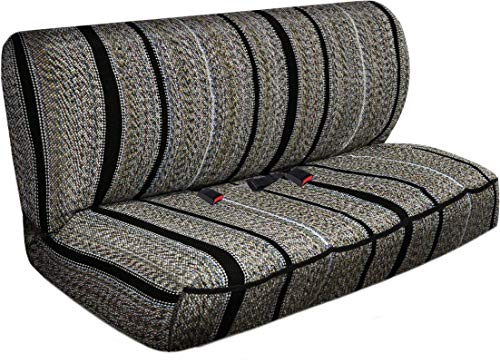 Motorup America Auto Bench Seat Cover Full Set - Fits Select Vehicles Car Truck Van SUV - Western Woven Saddle Blanket Gray