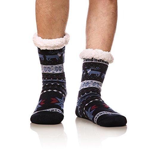 DoSmart Men's Winter Thermal Fleece Lining Knit Slipper Socks Christmas Non Slip Socks(Dark Blue)