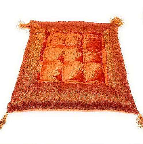 Aga's Own Indische Sitzpuff Sitzkissen Bodenkissen Yogakissen Orientalisches Kissen Indien (Orange)