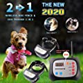 Wireless Dog Fence & Training Dog Collar 2 in 1 System, Remote Wireless Fence Adjustable Control Range, Waterproof Reflective Stripe Collar (Wireless Dog Fence & Dog Training Collar, For 1 Dog)