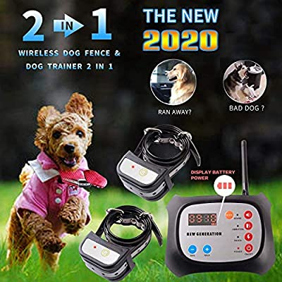 JUSTPET Wireless Dog Fence & Training Dog Collar 2 in 1 System, Remote Wireless Fence Adjustable Control Range, Waterproof Reflective Stripe Collar (for 2 Dog)