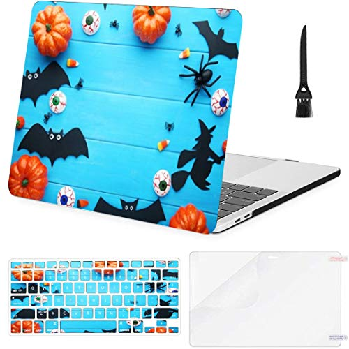MacBook Pro13 inch Retina (2012-2015) with Retina Display,1502,A1425 Case Halloween Bats Pumpkins On Blue Wooden MacBook Case with Keyboard Cover Screen Protector Cleaning Brush