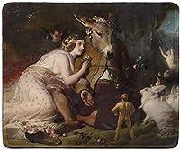 アートマウスパッド-真夏の夜の有名なファインアートペインティングが施された天然ゴム製マウスパッド' s妖精とロバの夢エドウィンヘンリーランドシーア-ステッチエッジ-9.5x7.9インチ