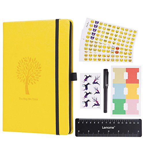 Planner - Dotted Numbered Pages Hardcover Notebook with Pen Holder - Premium Thick Paper + Back Pocket (Lemon Yellow)