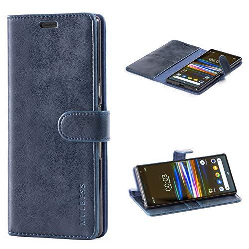 Mulbess Handyhülle für Sony Xperia 10 Plus Hülle Leder, Sony Xperia 10 Plus Handy Hüllen, Vintage Flip Handytasche Schutzhülle für Sony Xperia 10 Plus Hülle, Navy Blau
