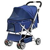Amzdeal Hundewagen Hundebuggy, Buggy und Wagen für Hunde Katze, Pet Stroller mit Regenschutz und Einkaufstasche, aus Stahl + 600D PVC-Tuch, für maximale Gewicht 15 Kg (blau)