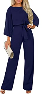 Womens Casual Short Sleeve Belted Jumpsuit Short Pants...