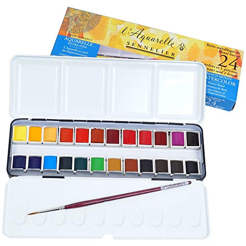 Sennelier L'Aquarelle French Watercolor Paint, Metal Set of 24 Half Pans