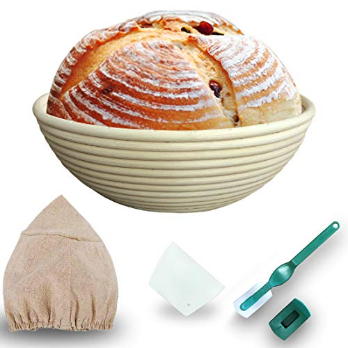 12-inch bread fermentation basket, baking handmade bread basket, bread proofing basket (La foot knife + scraper + interlining), suitable for professional and home bakers (12 inches)
