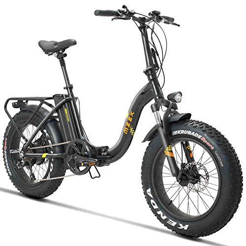 Knewss 20 Zoll Schnee E-Bike 48V500w Elektrofahrrad 4.0 fette Reifen Falten elektrische Mountainbike 624wh Lithiumbatterie Strand Freizeit Emotor-schwarz