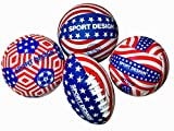 SPORT DESIGN Stars and Stripes 4 Sport Multipack: Red, White & Blue USA-Inspired Mini Football, Basketball, Soccer Ball and Volleyball. Authentic-Style Balls – Great for Kids and Adults