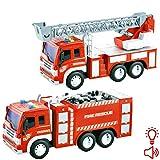 deAO Camion dei Pompieri e Camion con Scala di Soccorso Set di 2 Camion Modello in Scala 1:16 con Luci e Suoni, Movimento per Attrito