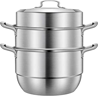 Beeiee Stainless Steel 3-Tier/Layer 28CM 11inch Diameter Steamer cooking pot, Rice cooker, Double Boilder, stack, steam soup pot and steamer Work with Gas, Electric and Grill stove top