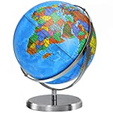World Globe 12 in Large Globes for Adults Learning 720° Rotation Globe of World with Heavy Duty Steel Stand Over 4000 Locations Current Educational Geography Globe Gifts Decoration