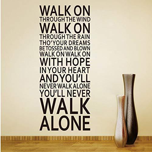 Mznm You 'll Never Walk Alone inspirierendem Zitat Wand Aufkleber Zimmer Dekoration Home Aufkleber Vinyl Kunst Liverpool Team Songtext