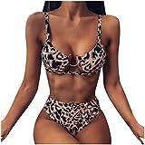 Meclelin Bademode Damen Sexy Cutout Push Up High Waist Bikini Set mit Ring Zweiteilige Badeanzug Strand Swimwear Schlangenmuster Swimsuits Leopardenmuster Beachwear
