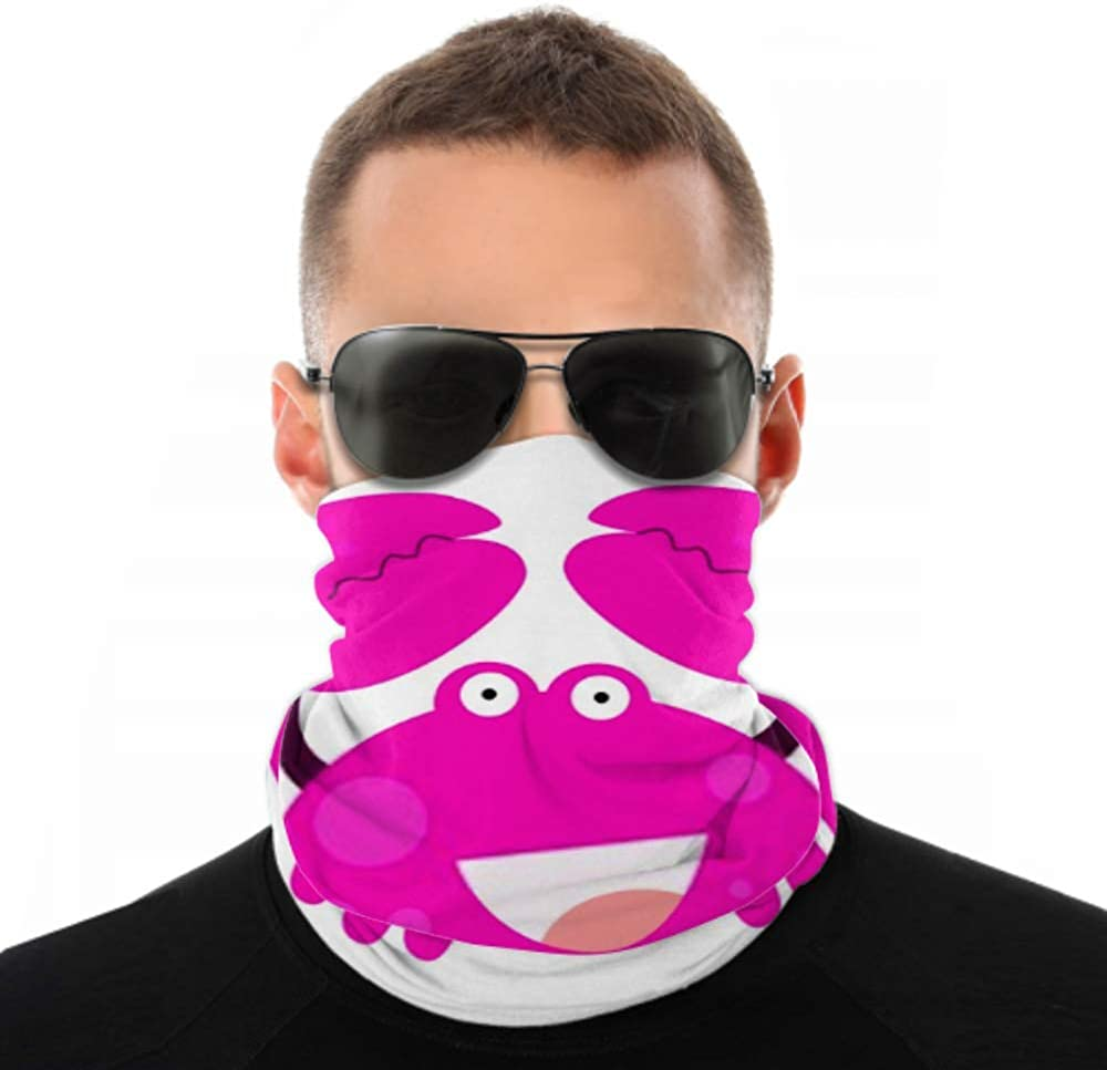 Headbands For Men Women Neck Gaiter, Face Mask, Headband, Scarf Crab Character Cute Cartoon Funny Happy Turban Multi Scarf Double Sided Print Hair Band For Sport Outdoor