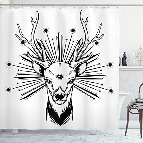 ABAKUHAUS Wild jagen Duschvorhang, Elk Third Eye Occult, Digital auf Stoff Bedruckt inkl.12 Haken Farbfest Wasser Bakterie Resistent, 175x220 cm, Charcoal Grau & Weiß