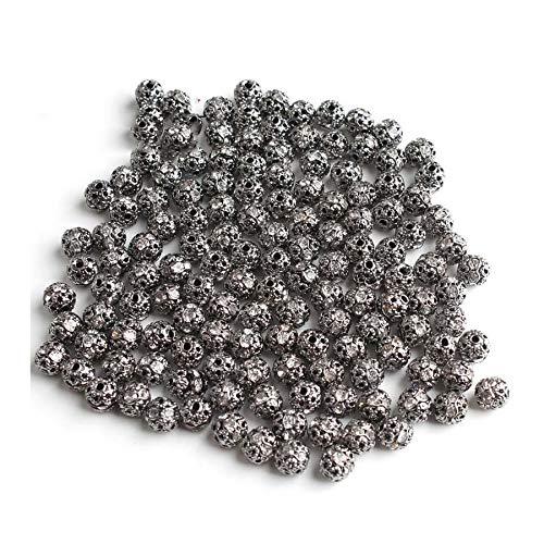 HONGTAI Metal Plated Crystal Rhinestone Ball Spacer Loose Beads Bracelet Necklace (Color : Gun Black 8mm)