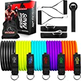 Resistance Exercise Bands | Space Rubber Technology - Ultra Durable Home Gym Bands | Up to 150 LBS Tension - Door & Floor Anchor Included | 4 Week Online Video Training Included