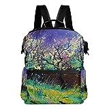 FANTAZIO mochila para niñas pintura al óleo paisaje primavera mochila