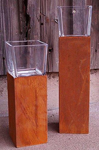 Dekostüberl Rostalgie Edelrost Windlicht Säule mit Glasaufsatz groß H30cm, inkl. Herz 8x6cm Beleuchtung Kerze Deko-Objekt