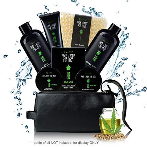 DLuxSpa Sandalwood Skincare Shaving and Bath Gift Basket Set for Men with Hemp Oil Extract