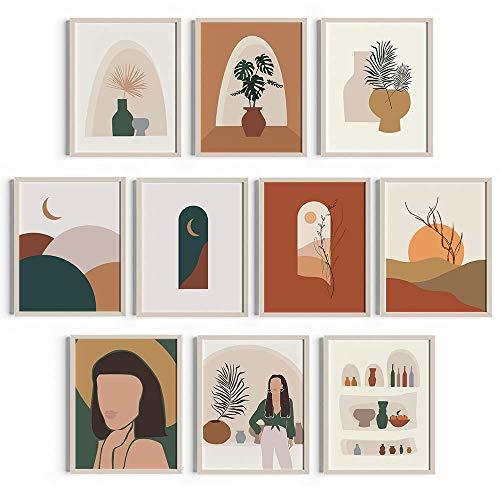 Cozyside Boho Wall Art Terracotta Decor - Set of 10 Boho Art Prints for Bohemian Mid Century or Modern Wall Decor. Unframed Abstract Art Wall Decor Posters (Terracota, 8x10in)