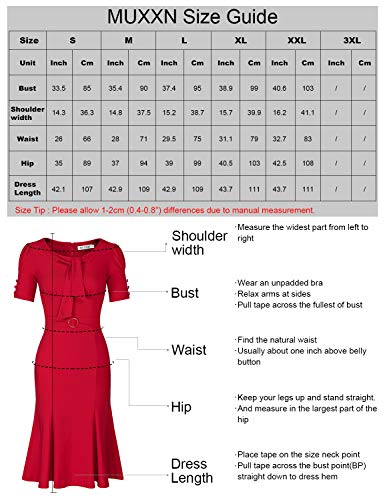 MUXXN Classic Cut Out Neck A Line Mermaid Dress with Short Sleeve for Women (Burgundy XL)
