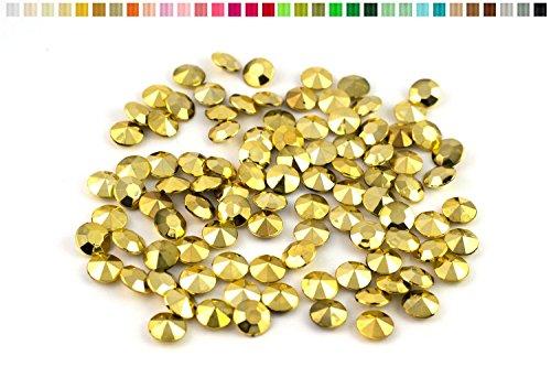 100 diamants en plastique pour decoration de table mariage ceremonie (metal or)