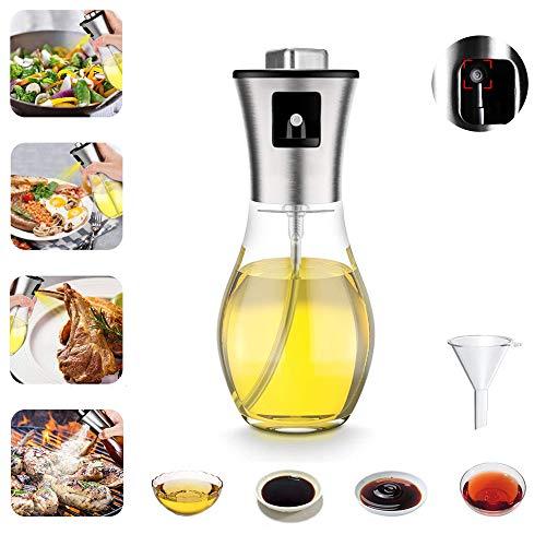 Spray de aceite de oliva, aceite y vinagre, botella de vidrio portátil de acero inoxidable de 200 ml, parte inferior antideslizante, para cocina, ensalada, pan, barbacoa, freír (tapa cuadrada)