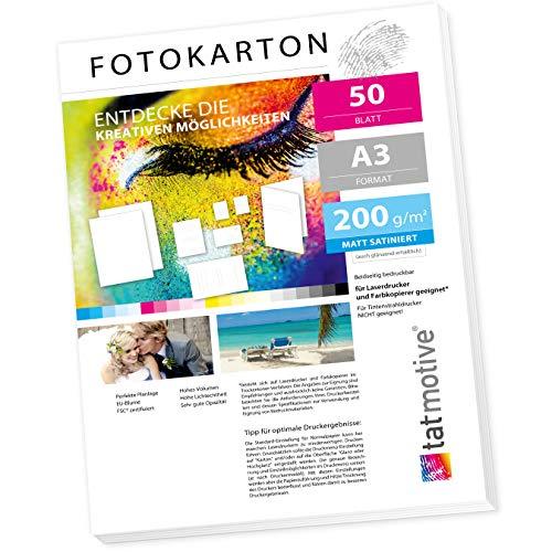 TATMOTIVE FA3200M50 Fotokarton Fotopapier 200g matt weiß/Laserdrucker/DIN A3 / Beidseitig bedruckbar / 50 Blatt