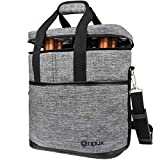 Premium Insulated 6 Bottle Wine Carrier Tote Bag | Wine Travel Bag with Shoulder Strap and...