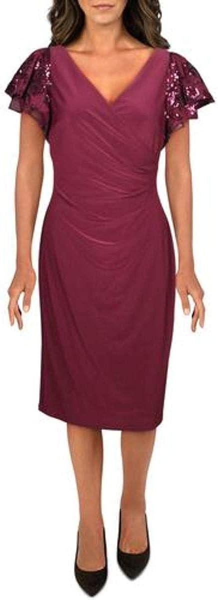 LAUREN RALPH LAUREN Womens Faux Wrap Sequined Cocktail Dress