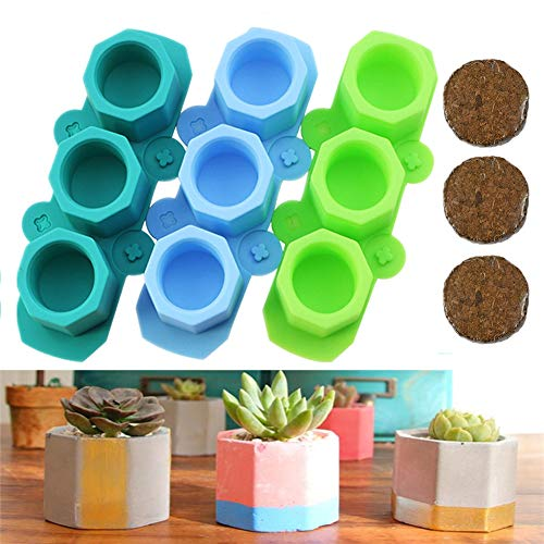 VCZONE Silicone Flower Pot Molds Polygonal Succulent Plants Moulds DIY Ceramic Craft Casting Concrete Molds Candle Holder Molds Ice Shot Glass Molds DIY