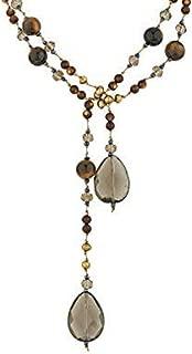 Silk Cord Tiger Eye, Smoky Quartz, Cultured Freshwater Pearl Crystal Glass Long Necklace, 41-44 inch