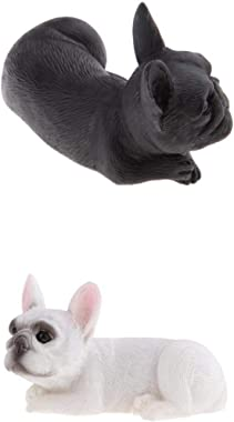 Fenteer 2pcs Realistic French Bulldog Dog Statue Pet Pal Dog Breed Collectible Resin Decor Figurine